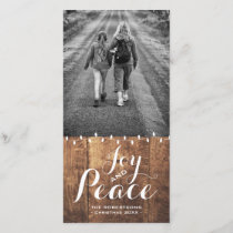 Joy Peace Christmas Wishes Photo Wood Lights v2 Holiday Card