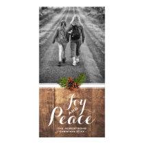 Joy Peace Christmas Wishes Photo Wood Pinecones Card