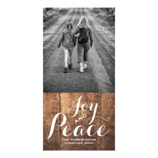 Joy & Peace - Christmas Wishes Photo - Wood v2 Card