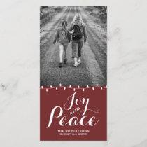 Joy & Peace Dark Red Version Christmas Photo Card