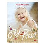 Joy Peace Gold Christmas | Holiday Photo Card