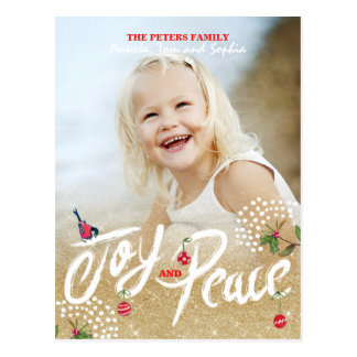 Joy Peace Gold Christmas | Holiday Photo Card