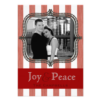 joy & peace - holiday stripes - canary personalized invitations