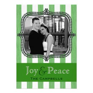 joy & peace - holiday stripes - green invitation