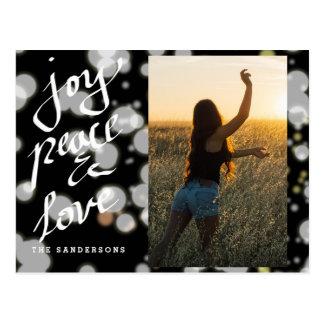 Joy Peace Love Bokeh Script Modern Photo Postcard