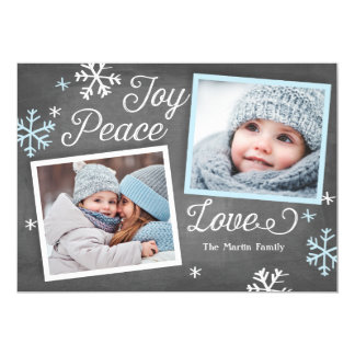 Joy Peace Love Chalkboard 2-Photo Holiday Card