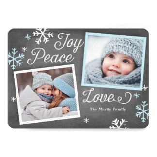 Joy Peace Love Chalkboard 2-Photo Holiday Card