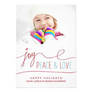 Joy Peace & Love Christmas Letter Photo Flat Card