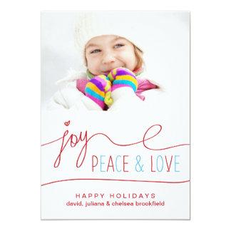 "Joy Peace & Love Christmas Letter Photo Flat Card 5"" X 7"" Invitation Card"