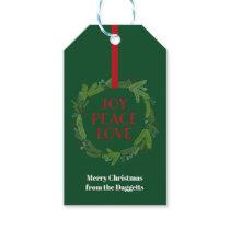 Joy Peace Love Christmas Wreath Gift Tags