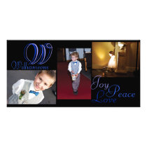 Joy Peace Love Collage Photo Card in blue