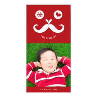 Joy Peace Love Cute Smiley Face Holiday Photo Card