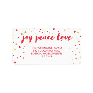 Joy Peace Love | Hearts & Stars | Christmas Label