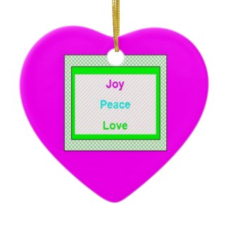Joy Peace Love Hip Trendy Heart Ornament ornament
