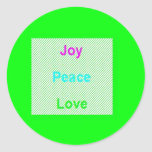 Joy Peace Love Hip Trendy Large Round Sticker