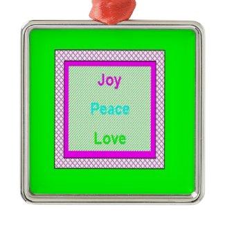 Joy Peace Love Hip Trendy Metal Ornament Green ornament