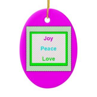Joy Peace Love Hip Trendy Oval Ornament ornament