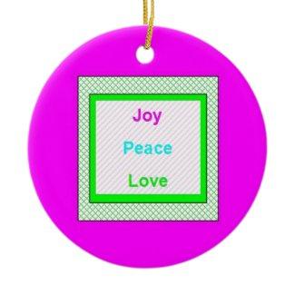 Joy Peace Love Hip Trendy Round Ornament ornament