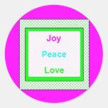 Joy Peace Love Hip Trendy Small Round Sticker