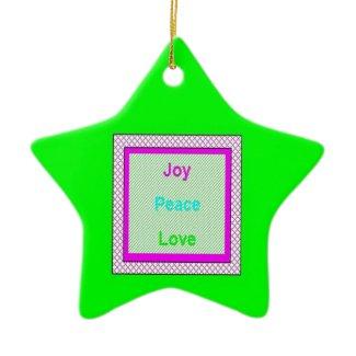 Joy Peace Love Hip Trendy Star Ornament ornament