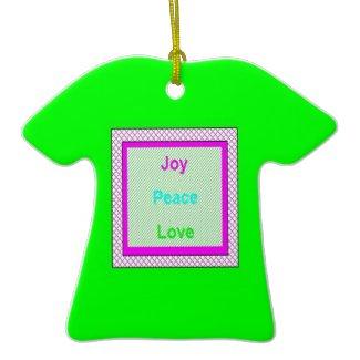 Joy Peace Love Hip Trendy T-Shirt Green Ornament ornament