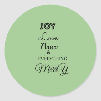 Joy Peace Love Merry Christmas  Round Sticker