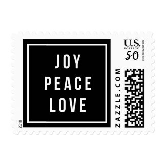 Joy Peace Love | Modern Black & White Holiday Postage