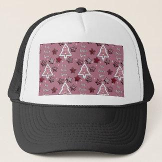 Joy, Peace, Love! pink Trucker Hat