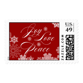 JOY PEACE LOVE POSTAGE | RED