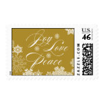 JOY PEACE LOVE POSTAGE | SNOWFLAKES GOLD