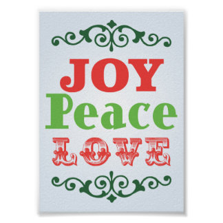 Joy Peace Love Poster