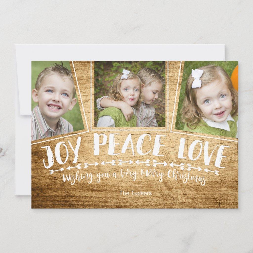 Joy Peace Love Wood Christmas Photo Card