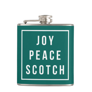 Joy Peace Scotch   Green & White Funny Holiday Flask