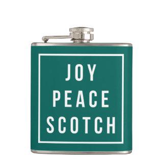 Joy Peace Scotch | Green & White Funny Holiday Hip Flask