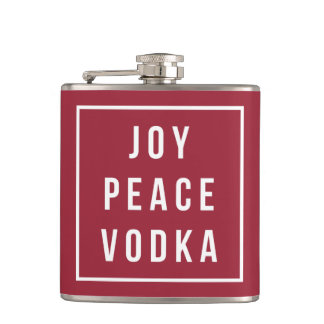 Joy Peace Vodka | Red & White Funny Holiday Hip Flask