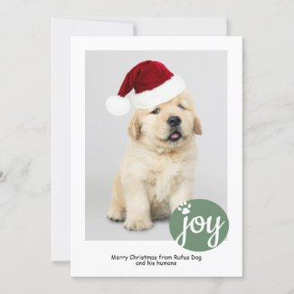 Joy Photo Personalized Christmas Dog Paw Print Holiday Card