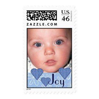 Joy Photo Postage Stamp with Blue Hearts