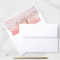 Joy | Pink Blush Watercolor Ombre Wash Snowflakes Envelope Liner