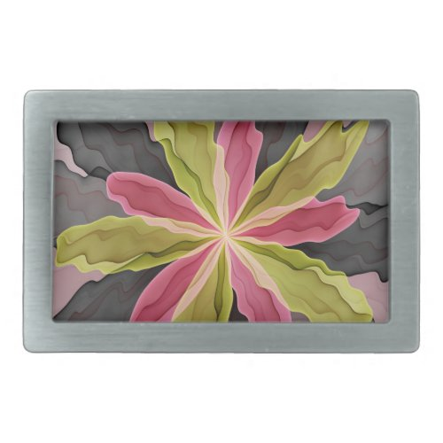 Joy Pink Green Anthracite Fantasy Flower Fractal Belt Buckle