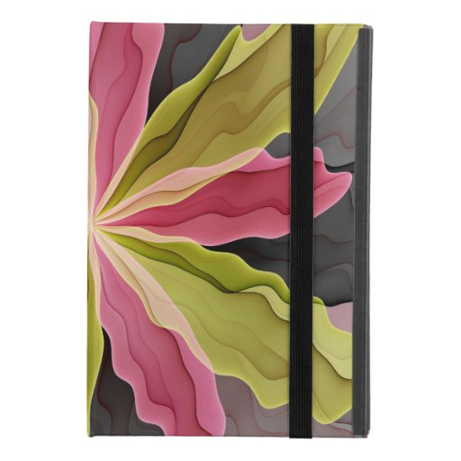 Joy, Pink Green Anthracite Fantasy Flower Fractal iPad Mini 4 Case