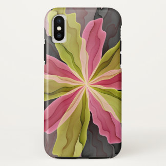 Joy, Pink Green Anthracite Fantasy Flower Fractal iPhone X Case