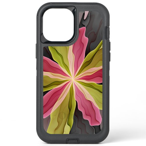 Joy, Pink Green Anthracite Fantasy Flower Fractal OtterBox Defender iPhone 12 Pro Max Case