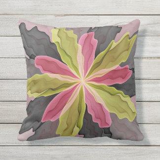 Joy, Pink Green Anthracite Fantasy Flower Fractal Outdoor Pillow