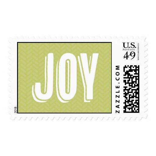 JOY Postage Stamp - Herringbone Pattern