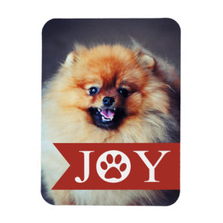 Joy Red Banner Pet Photo Holiday Magnet