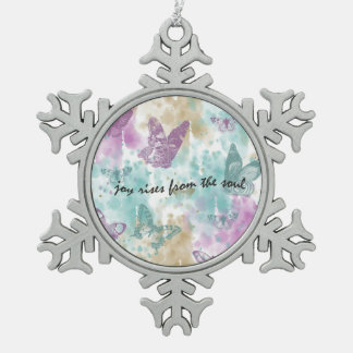 Joy Rises from the Soul Snowflake Pewter Christmas Ornament