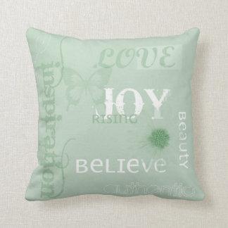 Joy Rising Earth Green Throw Pillow