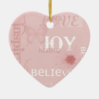 Joy Rising Pink Ceramic Ornament