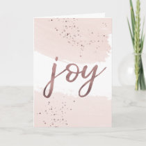 Joy | Rose Gold Christmas Holiday Card