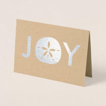 Beach Themed Joy Sand Dollar Beach Christmas Holiday Greetings Foil Card
